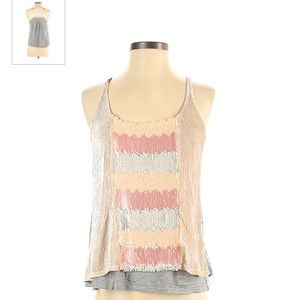 TINY Anthropologie rose pink sequin camisole